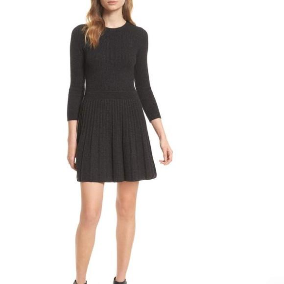 84e544e421 Joie Peronne Gray Wool Pleated Sweater Dress